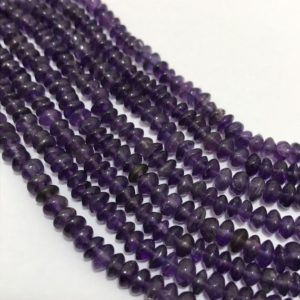 "Shop Amethyst Rondelle Beads! On sale Lot Of Amethyst Plain Rondelle 4 to 5 mm 13""/Gemstone Beads/Semi Precious Beads/Rare Beads/Natural Beads/Amethyst Beads 
