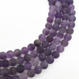 Shop Amethyst Round Beads! 8mm Matte Amethyst Beads, Round Gemstone Beads, Wholesale Beads | Natural genuine round Amethyst beads for beading and jewelry making.  #jewelry #beads #beadedjewelry #diyjewelry #jewelrymaking #beadstore #beading #affiliate #ad