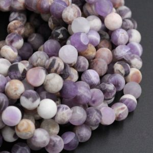 "Shop Amethyst Beads! Matte Finish Natural Chevron Amethyst 4mm Matte 6mm Matte Round Beads 8mm Matte Round Beads Purple Flower Amethyst Brown White 16"" Strand 