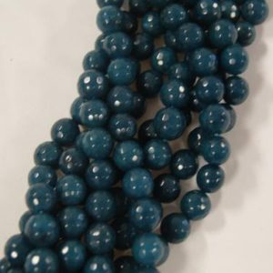 Shop Angelite Beads! Angelite Faceted Round Shaped Gemstone Bead-10mm~ -15 inch | Natural genuine faceted Angelite beads for beading and jewelry making.  #jewelry #beads #beadedjewelry #diyjewelry #jewelrymaking #beadstore #beading #affiliate #ad