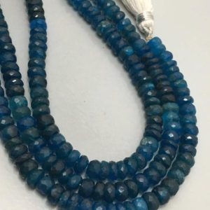 """Shop Apatite Faceted Beads! 55 Carat Natural Neon Apatite Faceted Rondelle 5 to 5.5 mm 8""""/Gemstone Beads/semi Precious Beads/Blue Beads/Apatite Beads 