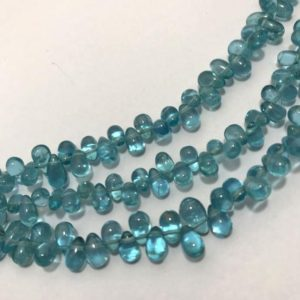"""Shop Apatite Bead Shapes! 60 Carats Sky Apetite Side Drill Smooth Drops 4×6 to 5×7 mm 7.5""""/Gemstone Beads/Rare Beads/Sky Apetite Beads/Smooth Drill Drops/Blue Beads 
