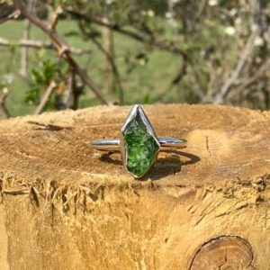 Shop Apatite Rings! Mothers Day Gift, Raw Green Apatite Silver Ring, Women's Dainty Gemstone Jewellery, Gift for Girlfriend or Sister | Natural genuine Apatite rings, simple unique handcrafted gemstone rings. #rings #jewelry #shopping #gift #handmade #fashion #style #affiliate #ad