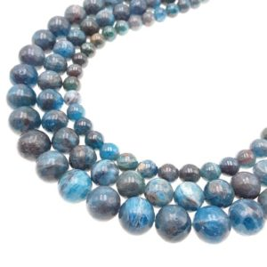 "Shop Apatite Beads! Natural Blue Apatite Smooth Round Size 6mm 8mm 10mm 12mm 15.5"" Strand 