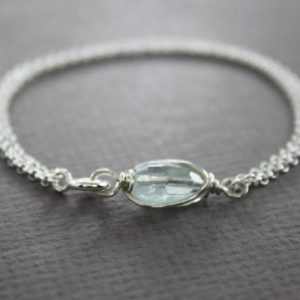 Shop Aquamarine Jewelry! Dainty sterling silver bracelet with aquamarine stone, Aquamarine jewelry, Aquamarine bracelet, Simple bracelet, Minimalist bracelet – BR012 | Natural genuine Aquamarine jewelry. Buy crystal jewelry, handmade handcrafted artisan jewelry for women.  Unique handmade gift ideas. #jewelry #beadedjewelry #beadedjewelry #gift #shopping #handmadejewelry #fashion #style #product #jewelry #affiliate #ad