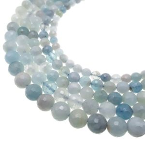 "Shop Aquamarine Faceted Beads! Multi Blue Aquamarine Faceted Round Beads 6mm 7mm 8mm 8.5mm 10mm 15.5"" Strand 