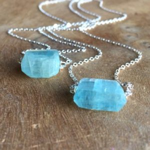 Aquamarine Necklace – Raw Aquamarine Necklace -Gemstone Necklace – Raw Aquamarine – Raw Stone Necklace – March Birthday Birthstone Jewelry | Natural genuine Aquamarine necklaces. Buy crystal jewelry, handmade handcrafted artisan jewelry for women.  Unique handmade gift ideas. #jewelry #beadednecklaces #beadedjewelry #gift #shopping #handmadejewelry #fashion #style #product #necklaces #affiliate #ad