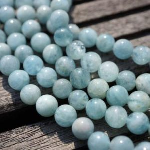 Shop Aquamarine Necklaces! Aquamarine round beads 6.5-7.5mm (ETB00129) Unique jewelry/Vintage jewelry/Gemstone necklace | Natural genuine Aquamarine necklaces. Buy crystal jewelry, handmade handcrafted artisan jewelry for women.  Unique handmade gift ideas. #jewelry #beadednecklaces #beadedjewelry #gift #shopping #handmadejewelry #fashion #style #product #necklaces #affiliate #ad