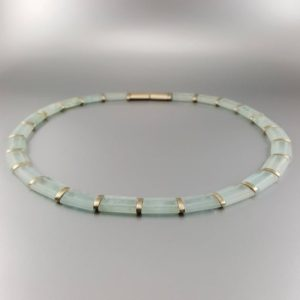 Statement necklace / collier Aquamarine with 14K white gold unique gift for her – Cleopatra necklace – matte bridal jewelry March birthstone | Natural genuine Gemstone necklaces. Buy handcrafted artisan wedding jewelry.  Unique handmade bridal jewelry gift ideas. #jewelry #beadednecklaces #gift #crystaljewelry #shopping #handmadejewelry #wedding #bridal #necklaces #affiliate #ad
