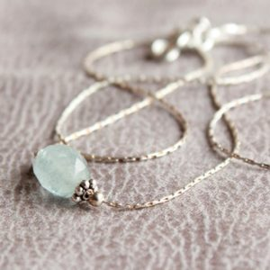 Shop Aquamarine Pendants! Aquamarine Sterling Silver Necklace, genuine natural pale blue gemstone dainty minimalist pendant choker March birthstone gift for her 4608 | Natural genuine Aquamarine pendants. Buy crystal jewelry, handmade handcrafted artisan jewelry for women.  Unique handmade gift ideas. #jewelry #beadedpendants #beadedjewelry #gift #shopping #handmadejewelry #fashion #style #product #pendants #affiliate #ad