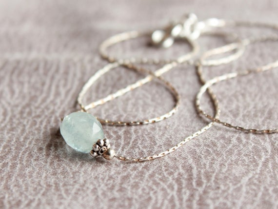 Aquamarine Sterling Silver Necklace, Genuine Natural Pale Blue Gemstone Dainty Minimalist Pendant Choker March Birthstone Gift For Her 4608