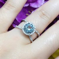 Aquamarine Engagement Ring.diamond Engagement Ring.round Aquamarine Halo Ring.march Birthstone Ring.aaa Quality Aquamarine Wedding Ring. | Natural genuine Gemstone jewelry. Buy handcrafted artisan wedding jewelry.  Unique handmade bridal jewelry gift ideas. #jewelry #beadedjewelry #gift #crystaljewelry #shopping #handmadejewelry #wedding #bridal #jewelry #affiliate #ad