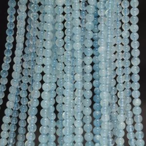 Shop Aquamarine Round Beads! 4mm Beryl Aquamarine Gemstone Grade AAA Blue Round Loose Beads 15.5 inch Full Strand (90183615-371) | Natural genuine round Aquamarine beads for beading and jewelry making.  #jewelry #beads #beadedjewelry #diyjewelry #jewelrymaking #beadstore #beading #affiliate #ad