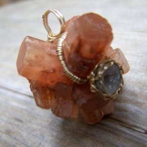 Shop Aragonite Pendants! Aragonite Crystal cluster, micro Tabasco Geode 14k goldfilled wrap Pendant | Natural genuine Aragonite pendants. Buy crystal jewelry, handmade handcrafted artisan jewelry for women.  Unique handmade gift ideas. #jewelry #beadedpendants #beadedjewelry #gift #shopping #handmadejewelry #fashion #style #product #pendants #affiliate #ad