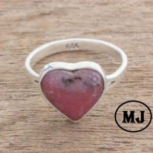Shop Rhodonite Rings! Artisan Rhodonite Ring, Sterling Silver Ring, 925 Sterling Silver Ring, Handmade Ring, Women Ring, Bridesmaid gift | Natural genuine Rhodonite rings, simple unique handcrafted gemstone rings. #rings #jewelry #shopping #gift #handmade #fashion #style #affiliate #ad