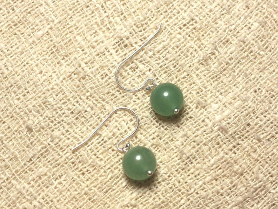 Earrings 925 Sterling Silver And Stone - Aventurine Green 10mm