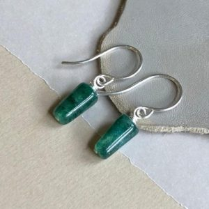 Shop Aventurine Earrings! Emerald Green Aventurine Earrings Sterling Silver Rustic Jewelry Green Gemstone Earrings | Natural genuine Aventurine earrings. Buy crystal jewelry, handmade handcrafted artisan jewelry for women.  Unique handmade gift ideas. #jewelry #beadedearrings #beadedjewelry #gift #shopping #handmadejewelry #fashion #style #product #earrings #affiliate #ad