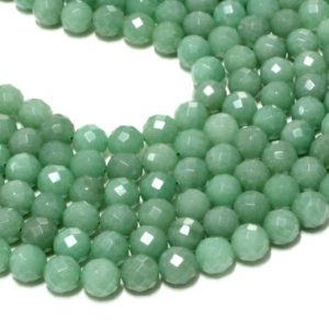 "Shop Aventurine Faceted Beads! Aventurine gemstone beads,round beads,faceted beads,natural beads,semiprecious loose beads,green beads,jewelry diy – 16"" Full Strand 