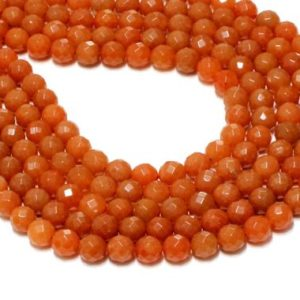 "Shop Aventurine Faceted Beads! Large aventurine beads,orange beads,gemstone beads,faceted round beads,faceted stones,faceted beads,loose beads – 16"" Full Strand 