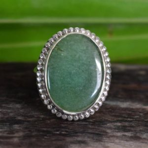 Shop Aventurine Rings! 925 Silver Natural Green Aventurine Ring-aventurine Ring-green Aventurine Ring-oval Shape Ring-design Ring | Natural genuine Aventurine rings, simple unique handcrafted gemstone rings. #rings #jewelry #shopping #gift #handmade #fashion #style #affiliate #ad