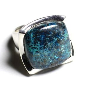 Shop Azurite Rings! N222 – 925 sterling silver ring and stone – 20mm square Azurite | Natural genuine Azurite rings, simple unique handcrafted gemstone rings. #rings #jewelry #shopping #gift #handmade #fashion #style #affiliate #ad