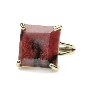 Shop Rhodonite Rings! Beautiful rhodonite ring,square ring,princess cut ring,double band gold ring,gold filled ring,stacking ring,statement ring,gemstone ring | Natural genuine Rhodonite rings, simple unique handcrafted gemstone rings. #rings #jewelry #shopping #gift #handmade #fashion #style #affiliate #ad