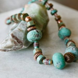 Shop Chrysoprase Jewelry! Big Stone Raw Chrysoprase and Natural American Turquoise Copper Tribal Boho Necklace | Natural genuine Chrysoprase jewelry. Buy crystal jewelry, handmade handcrafted artisan jewelry for women.  Unique handmade gift ideas. #jewelry #beadedjewelry #beadedjewelry #gift #shopping #handmadejewelry #fashion #style #product #jewelry #affiliate #ad