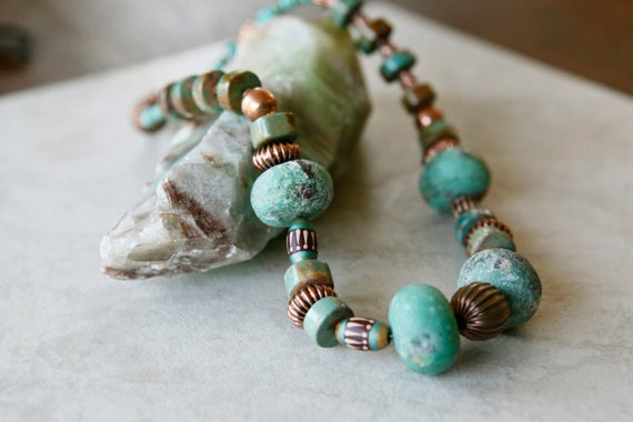 Big Stone Raw Chrysoprase And Natural American Turquoise Copper Tribal Boho Necklace