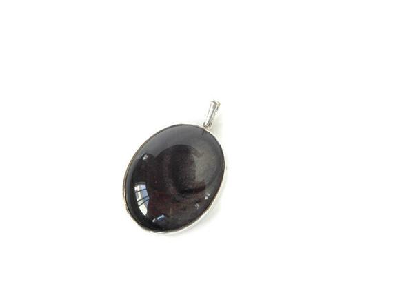 Black Obsidian Necklace Pendant, Sterling Silver Obsidian Pendant, Rainbow Obsidian Stone, Obsidian Crystal, Protection Stone, Gift For Her
