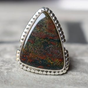 Shop Bloodstone Rings! 925 Silver Natural Bloodstone Ring-blood Stone Ring-bloodstone Ring-green Bloodstone Ring–bloodstone Design Ring-bloodstone Ring | Natural genuine Bloodstone rings, simple unique handcrafted gemstone rings. #rings #jewelry #shopping #gift #handmade #fashion #style #affiliate #ad