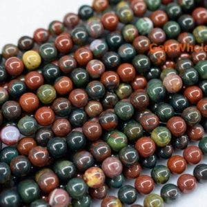 "Shop Bloodstone Beads! 15.5"" 4mm/6mm Natural Indian bloodstone round beads, Indian blood stone beads, green red multi color semi-preciouse stone beads, 
