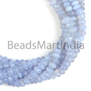 Shop Blue Chalcedony Beads! Blue Chalcedony Faceted Rondelle Natural Beads, Natural Chalcedony Beads, Chalcedony Faceted Beads, Blue Chalcedony Rondelle(9-9.5mm) Beads | Natural genuine faceted Blue Chalcedony beads for beading and jewelry making.  #jewelry #beads #beadedjewelry #diyjewelry #jewelrymaking #beadstore #beading #affiliate #ad