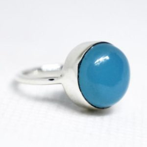 Shop Blue Chalcedony Rings! Blue Chalcedony Ring,Chalcedony Ring,Solid 925 Sterling Silver Chalcedony Ring,Birthstone Ring,Handmade jewelry,Chalcedony Jewelry,boho ring | Natural genuine Blue Chalcedony rings, simple unique handcrafted gemstone rings. #rings #jewelry #shopping #gift #handmade #fashion #style #affiliate #ad