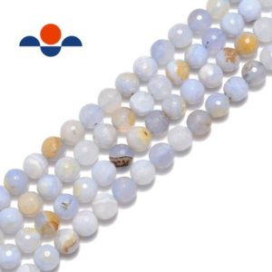"Shop Blue Lace Agate Beads! Blue Lace Agate Faceted Round Beads 6mm 8mm 10mm 15.5"" Strand 