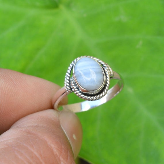 Natural Blue Lace Agate Ring, 925 Silver Rings, 7x9 Mm Oval Blue Lace Agate Ring, Women Rings, Gemstone Ring, Blue Agate Ring, Silver Ring