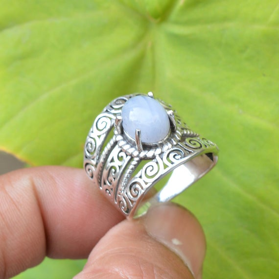Blue Lace Agate Ring, Sterling Silver Rings, Natural Lace Agate Ring, 8x10 Mm Oval Blue Lace Agate Ring, Gemstone Silver Ring, Gift For Wife
