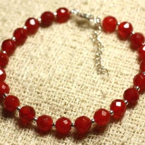 Shop Carnelian Bracelets! Bracelet 925 sterling silver and stone – carnelian faceted 6mm | Natural genuine Carnelian bracelets. Buy crystal jewelry, handmade handcrafted artisan jewelry for women.  Unique handmade gift ideas. #jewelry #beadedbracelets #beadedjewelry #gift #shopping #handmadejewelry #fashion #style #product #bracelets #affiliate #ad