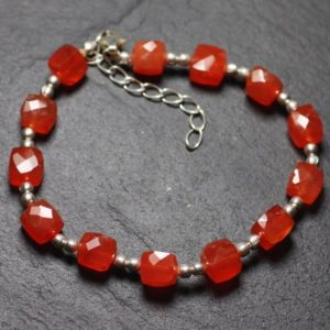 Shop Carnelian Bracelets! Bracelet 925 sterling silver and stone – carnelian Cubes faceted 5-6mm | Natural genuine Carnelian bracelets. Buy crystal jewelry, handmade handcrafted artisan jewelry for women.  Unique handmade gift ideas. #jewelry #beadedbracelets #beadedjewelry #gift #shopping #handmadejewelry #fashion #style #product #bracelets #affiliate #ad