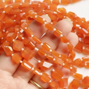 Shop Carnelian Necklaces! 8-10mm Carnelian Step Cut Faceted Tumbles, Orange Carnelian Beads For Jewelry, Natural Carnelian For Necklace, 32 Pcs in 14 Inch – AGA89 | Natural genuine Carnelian necklaces. Buy crystal jewelry, handmade handcrafted artisan jewelry for women.  Unique handmade gift ideas. #jewelry #beadednecklaces #beadedjewelry #gift #shopping #handmadejewelry #fashion #style #product #necklaces #affiliate #ad