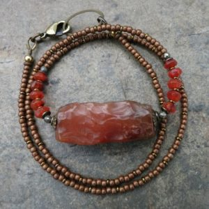 Shop Carnelian Necklaces! Rough Red Carnelian Necklace, raw orange stone rustic Bohemian or tribal style handmade beaded jewelry | Natural genuine Carnelian necklaces. Buy crystal jewelry, handmade handcrafted artisan jewelry for women.  Unique handmade gift ideas. #jewelry #beadednecklaces #beadedjewelry #gift #shopping #handmadejewelry #fashion #style #product #necklaces #affiliate #ad
