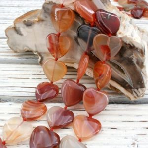 Shop Carnelian Bead Shapes! Carnelian handmade heart shape beads 19.5-21mm (ETB00253) warmth/happiness/peace/inner strength | Natural genuine other-shape Carnelian beads for beading and jewelry making.  #jewelry #beads #beadedjewelry #diyjewelry #jewelrymaking #beadstore #beading #affiliate #ad