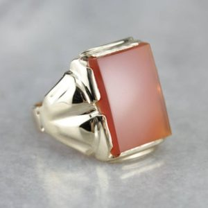 Shop Carnelian Rings! Retro Era Carnelian Gold Men's Statement Ring H2XH5WKX-P | Natural genuine Carnelian rings, simple unique handcrafted gemstone rings. #rings #jewelry #shopping #gift #handmade #fashion #style #affiliate #ad