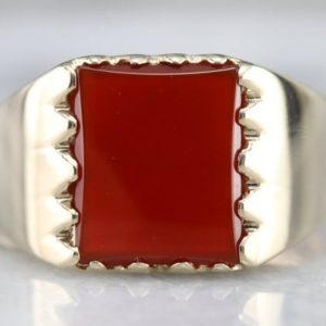 Shop Carnelian Rings! Vintage Carnelian Men's Ring, Carnelian Statement Ring, Yellow Gold Carnelian Ring, Men's Cabochon Ring, Right Hand Ring H6X4XH8N | Natural genuine Carnelian rings, simple unique handcrafted gemstone rings. #rings #jewelry #shopping #gift #handmade #fashion #style #affiliate #ad