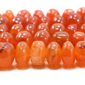 "Shop Carnelian Rondelle Beads! Best Quality 10"" Long Strand Natural Carnelian Gemstone, Smooth Rondelle Beads, Size 8-13 MM Orange Rondelle Making Jewelry Wholesale Price 