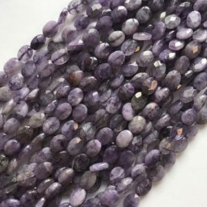 Shop Charoite Bead Shapes! Natural Charoite 8x6x3mmfaceted Oval Gemstone Beads – 15.5 Inches Strand 1 Strand / 3 Strands | Natural genuine other-shape Charoite beads for beading and jewelry making.  #jewelry #beads #beadedjewelry #diyjewelry #jewelrymaking #beadstore #beading #affiliate #ad