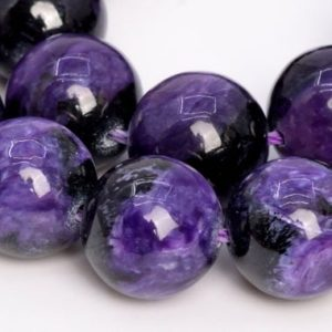Shop Charoite Beads! 16 Pcs – 12MM Dark Color Charoite Beads Russia Grade A+ Genuine Natural Round Gemstone Loose Beads (108983) | Natural genuine beads Charoite beads for beading and jewelry making.  #jewelry #beads #beadedjewelry #diyjewelry #jewelrymaking #beadstore #beading #affiliate #ad