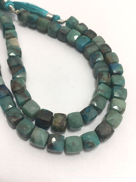 6.5 - 7.5 Mm Chrysocolla Faceted Box Gemstones Beads Strand Sale / Chrysocolla Jewellery / Faceted Cube Beads / Chrysocolla Strand Wholesale