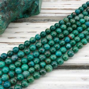 Shop Chrysocolla Necklaces! Chrysocolla round beads 5-5.5mm (ETB00970)  Unique jewelry/Vintage jewelry/Gemstone necklace | Natural genuine Chrysocolla necklaces. Buy crystal jewelry, handmade handcrafted artisan jewelry for women.  Unique handmade gift ideas. #jewelry #beadednecklaces #beadedjewelry #gift #shopping #handmadejewelry #fashion #style #product #necklaces #affiliate #ad