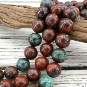 Shop Chrysocolla Necklaces! Sonora Sunrise Sunset Cuperite Chrysocolla round beads 13-13.5mm (ETB01070) Unique jewelry/Vintage jewelry/Gemstone necklace | Natural genuine Chrysocolla necklaces. Buy crystal jewelry, handmade handcrafted artisan jewelry for women.  Unique handmade gift ideas. #jewelry #beadednecklaces #beadedjewelry #gift #shopping #handmadejewelry #fashion #style #product #necklaces #affiliate #ad