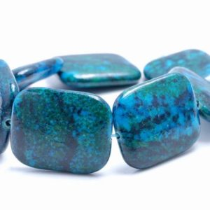 Shop Chrysocolla Bead Shapes! 27x22MM  Chrysocolla Gemstone Rectangle Loose Beads 7.5 inch Half Strand (90182634-A141) | Natural genuine other-shape Chrysocolla beads for beading and jewelry making.  #jewelry #beads #beadedjewelry #diyjewelry #jewelrymaking #beadstore #beading #affiliate #ad